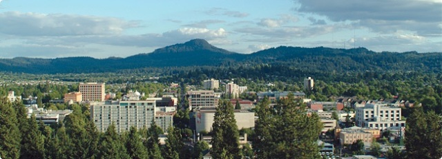Eugene proper - looking east (courtesy www.peacehealthlabs.org)